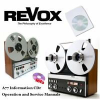 Revox a77 tape recorder reel to reel operation instruction service manual cd