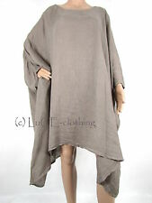 NEW Ladies Italian Lagenlook Full Length LINEN Oversize KAFTAN Tunic Top