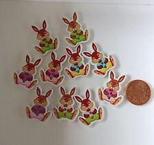Lot de 10 lapin en bois Boutons Animaux Sew Craft