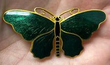 Enamel Silver Plate Butterfly Brooch Sporrong Co. of Sweden Green Guilloche
