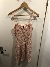 Baby Pink, Buttoned, Strappy Tea Dress with Small, Black Heart Print from H&M