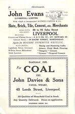 1934 Liverpool John Davies Canal Wharf Coal John Evans Brick Tile Cement Ad