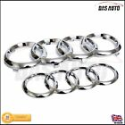 CHROME SILVER GRILL & REAR BADGE EMBLEM RINGS AUDI a3 a4 a5 quattro sline sgs