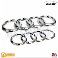 CHROME GRILLE & REAR BADGE EMBLEM RINGS AUDI a1 a3 a4 a5 s3 s4 quattro Sline sgs