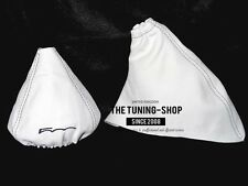 """For Fiat 500 07-15 Shift & E brake Boot White Leather """"500"""" Embroidery"""