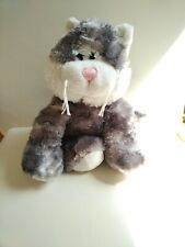 Cuddles Time Grey And White Soft Toy Cat Comforter Pink Nose white whiskers 25cm