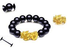 NEW Pure 24K Yellow Gold Bracelet 14mm 3D Bless Pixiu 6mm Black Agate Bead