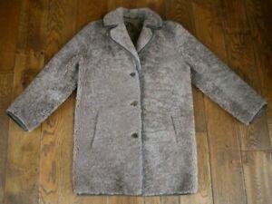 Vintage Oversized Real Sheepskin Teddy Bear Fluffy Coat Jacket Uk 10