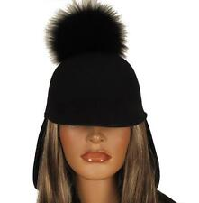 NEW MONCLER STYLISH BLACK FELTRO WOOL FOX FUR POM-POM HAT M