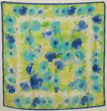 """TERRIART Royal, Lime, Yellow Flowers 34"""" Square Scarf-Vintage"""