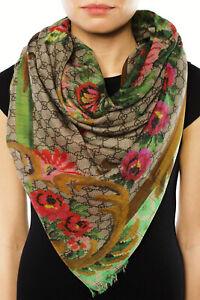 """GUCCI GG Eden Bloom Pattern Modal Silk Scarf Wrap NWT $590 140cm X 140cm 55""""X55"""""""