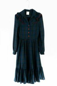 Vintage Kleid XS 34 Karomuster Modal 70s school girl look dress
