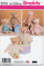 "SIMPLICITY SEWING PATTERN 8155 21½""/54.5CM STUFFED TEDDY BEAR WITH CLOTHES"