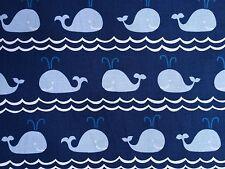 By 1/2 Yard Blend Fabrics True Blue Ana Davis ~ Rowing Blue ~ whales fish ocean