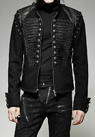 Punk Rave Men's Steampunk Gothic Rock Metal Military Short Black Army Jacket