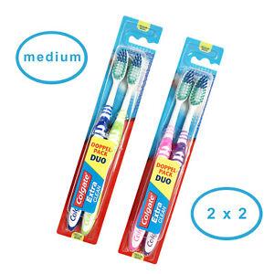 !4 Stück! 2x Colgate Doppelpack Extra Clean medium Zahnbürste mit Zungenreiniger