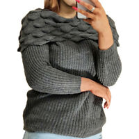 Womens Jumper Off Shoulder Charcoal Bardot Top KnItted Mohair Sweater Ladies
