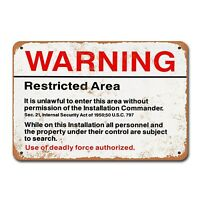Warning Restricted Military Area 51 Vintage Tin Sign Metal Decor Metal Sign