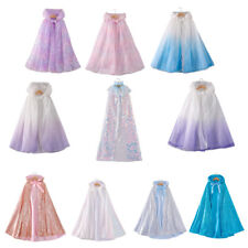 Kids Elsa princess Hooded Cloak girl long cape Halloween Costume Dress Up Summer