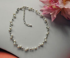 "pearl anklet GLASS BEAD  9.5""  white blue red pink bridal COLOUR OPTION ankle"
