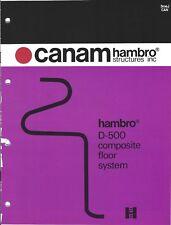 Brochure - Canam Hambro Structures - D-500 Composite Floor System - c1977 (AF31)