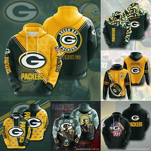 Green Bay Packers Mens Footbball Hoodie Casual Hooded Sweatshirt Pullover Jacket