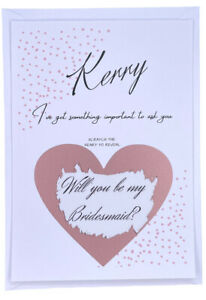 personalised will you be my bridesmaid Scratch PostCard Bridesmaid