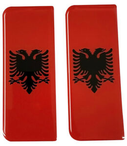 2x Albania Gel Domed Number Plate Decals