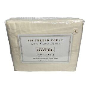 Fine Deluxe Hotel 100% Cotton Sateen 300 Thread Count Full Sheet Set Beige Color