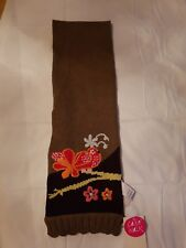 Cakewalk Girly Spirit,  girls scarf Brown with flower embroidery. Size1 (2-4)