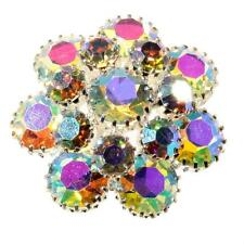 Vintage Czech crystal AB glass rhinestone costume jewelry flower pin brooch