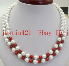 2Row Natural 8mm White South Sea Shell Pearl & Round Red Coral Necklace 18-20''