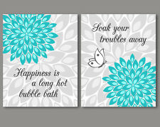 2 prints, art for bathroom wall decor - quotes / sayings, turquoise grey flowers