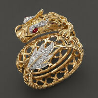 Cool 18k Gold Filled Ruby Topaz Dragon Hollow Ring Women Design Jewelry Size6-10