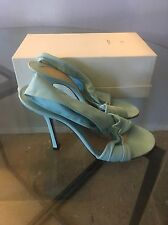 GIVENCHY - SMOOTH LIGHT BLUE CRISS CROSS LEATHER SANDALS SIZE 37.5