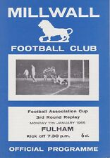 MILLWALL v FULHAM ~ FA CUP 3RD ROUND REPLAY 11 JANUARY 1965 EXCELLENT CONDITION