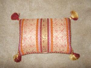 """LAURA ASHLEY Tassel Cushion Raspberry Gold Feather 17""""x12"""" Brocade Floral Stripe"""