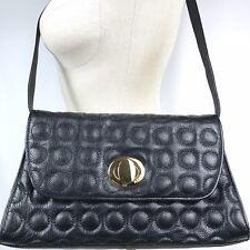 Bodhi Black Leather Bubble Stitch Shoulder Handbag Purse