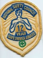 National Safety Council 12 year safe driver award driver patch 4 X 3
