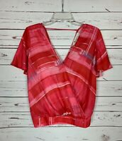 The Impeccable Pig Anthropologie Women's S Small Pink Red Summer Cute Top Blouse