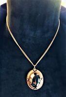 Spirited Vintage Strange Seer Stone Gothic Copper Noir & Light Looking Necklace