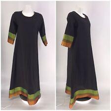 ANOUK DRESS Maxi Long India 1/2 Sleeve Black LARGE