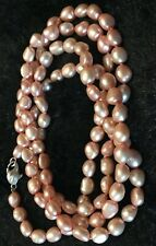 "Beautiful Honora ROSE PINK Pearl 38"" Necklace 925 clasp-QVC"