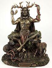 CERNUNNOS CELTIC HORNED GOD of Animals Sitting Statue Sculpture Bronze Finish