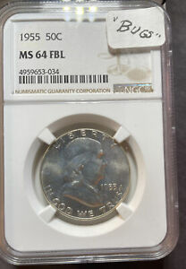 1955Franklin Half DollarMS64 FBL NGC Full Bell Lines, Bugs Bunny Variety#1615