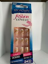 Kiss ImPress Press On Nails Short Neon Medium french tip white gold fashion