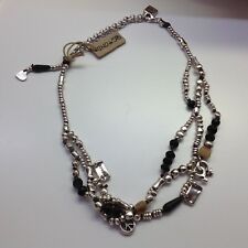 """NWT RETIRED Uno de 50 Silver-plated Necklace w/ Black Agate/Beads """"Changes"""""""
