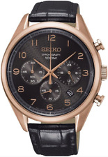 SEIKO SSB296P1 Chronograph Black Leather Strap 100M Gents 2 Year Guar RRP £260