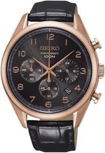SEIKO SSB296P1 Chronograph Black Leather Strap 100M Gents 2 Year Guar RRP £260