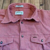 Orvis Men's Large Houndstooth Button Down Shirt Orange And Beige Suede Trim